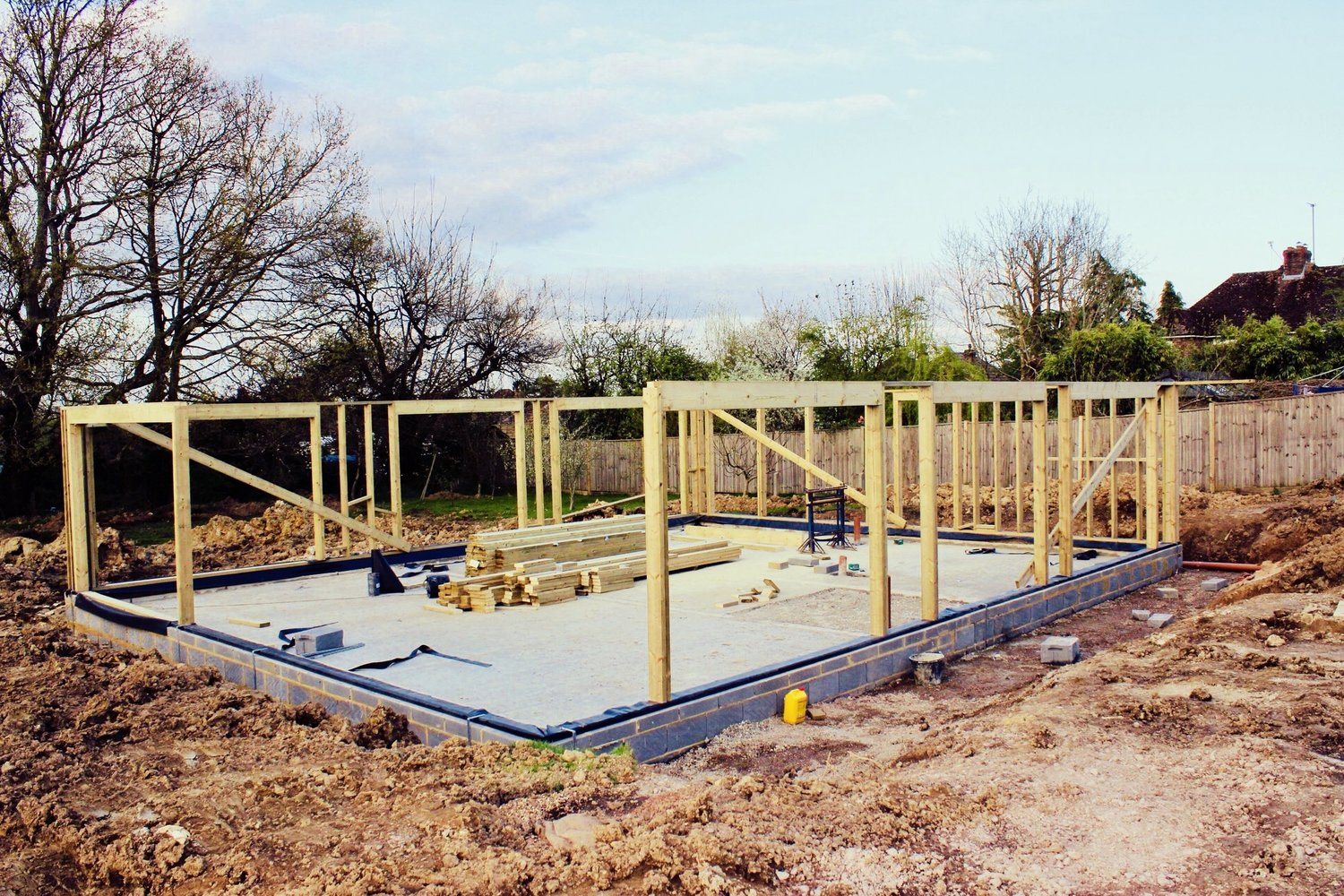 Beginning the building of the frame of an eco home in West Sussex