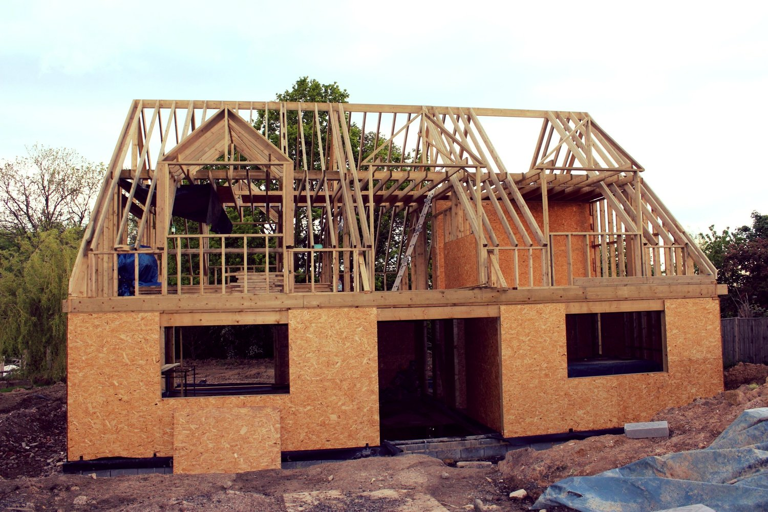 The roof frame completed of an eco home in West Sussex