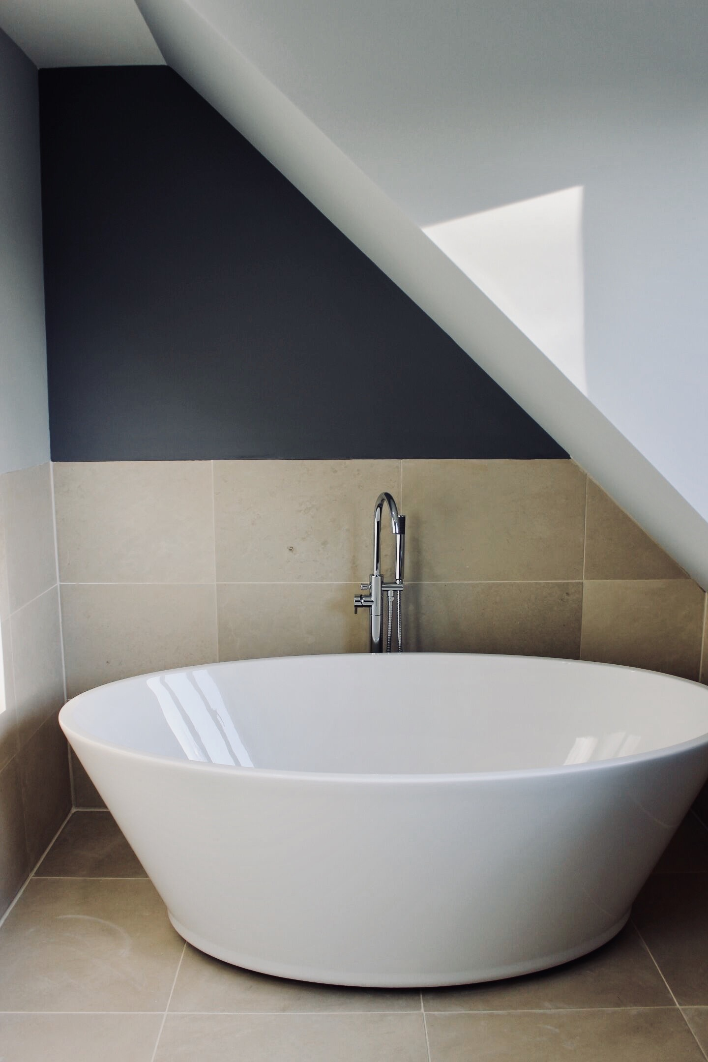 Vessel bowl bath for a sophisticated modern look for an eco home build in West Sussex.