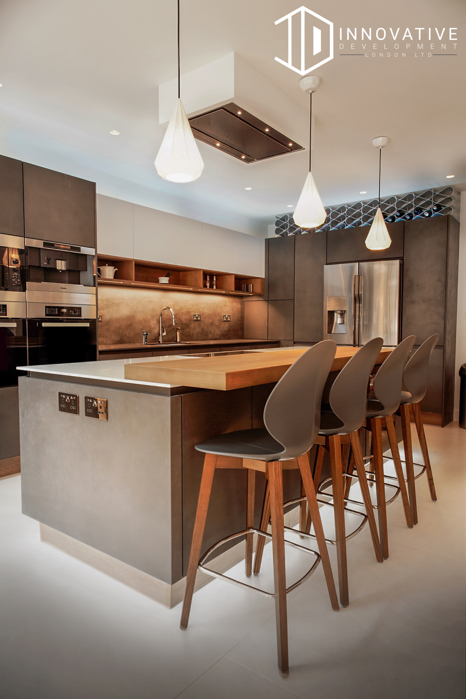 The modern kitchen with a creamy interior design for a completed Kitchen extension in Chiswick