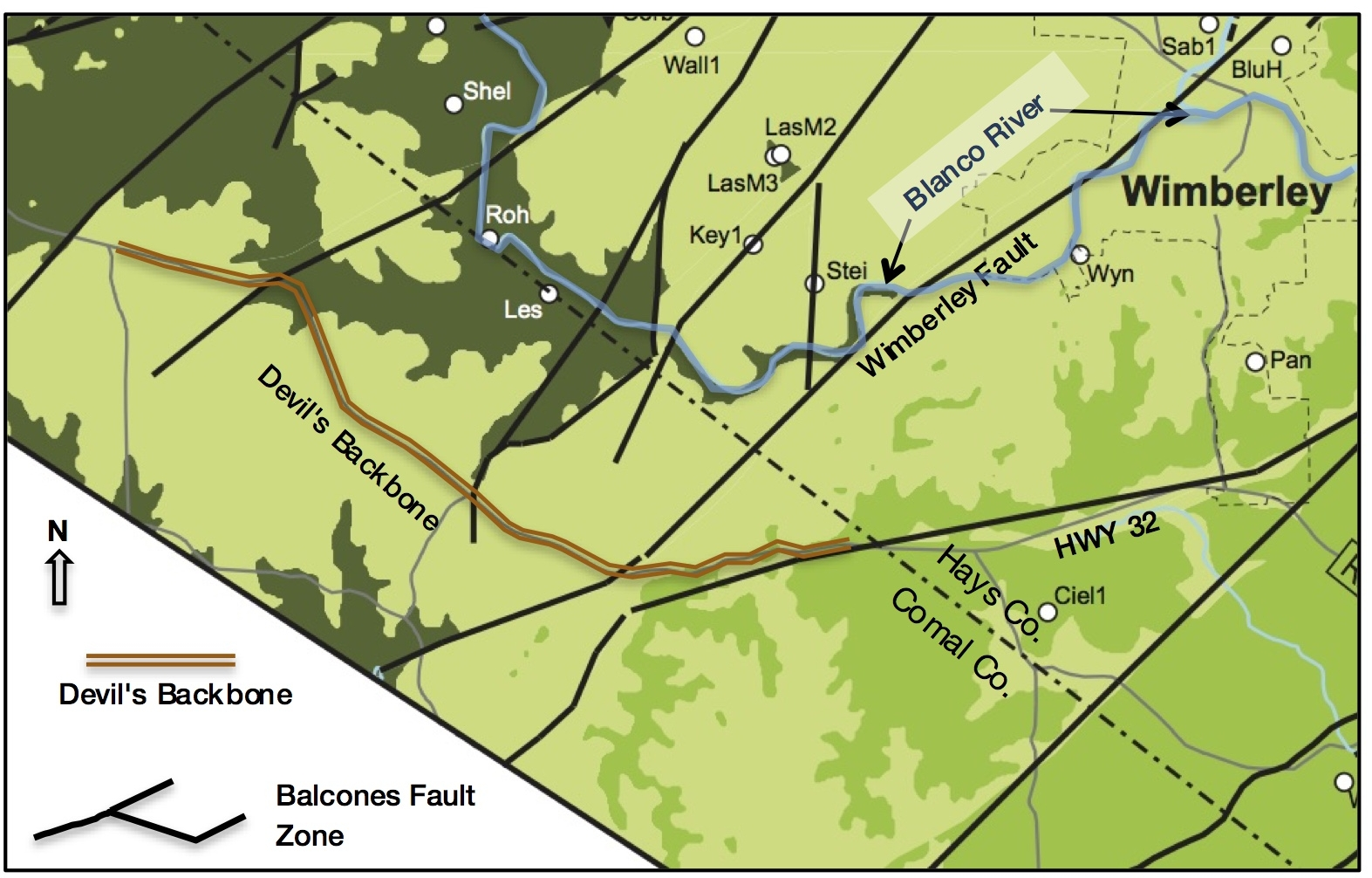 Geologic Base Map - reference: Hydrogeologic Atlas of the Hill Country Trinity Aquifer, Wierman, Broun & Hunt, July 2010