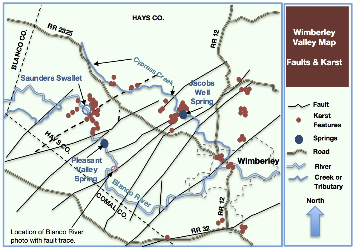 Figure 1 - Map of faults and karst in the Wimberley Valley -reference: Hydrogeologic Atlas of the Hill Country Trinity Aquifer, Wierman, Broun & Hunt, July 2010