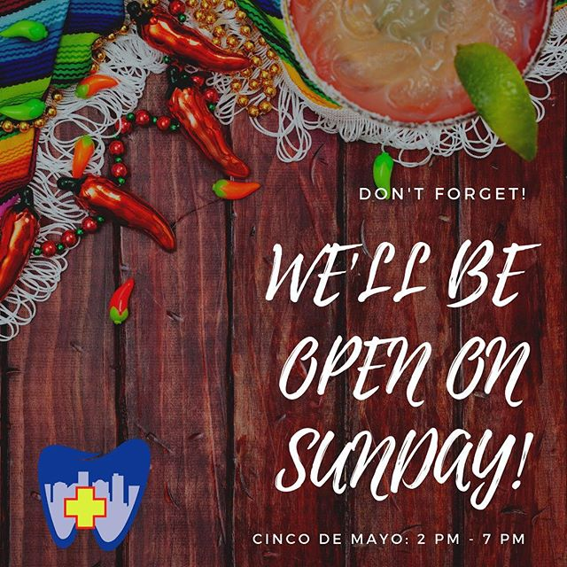 As you celebrate Cinco de Mayo tomorrow, remember that City Dental is open from 2-7pm for all of your dental needs! Call 803-764-3320 🤠 • • • #westcolumbia #westcolumbiasc #universityofsouthcarolina #columbiasc #lexingtonsc #lexingtonmedicalcenter #palmettohealthrichland #urgentcare #toothache #weekenddentist #emergencydentist #emergencydental #loveyoursmile #wecanhelp #lakemurraysc #lakemurray #becauselifeisbusy