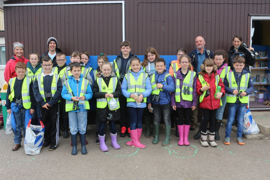 Kids at Thrumster Primary School prepare to visit wader habitats in Caithness (pic Eswyl Fell)