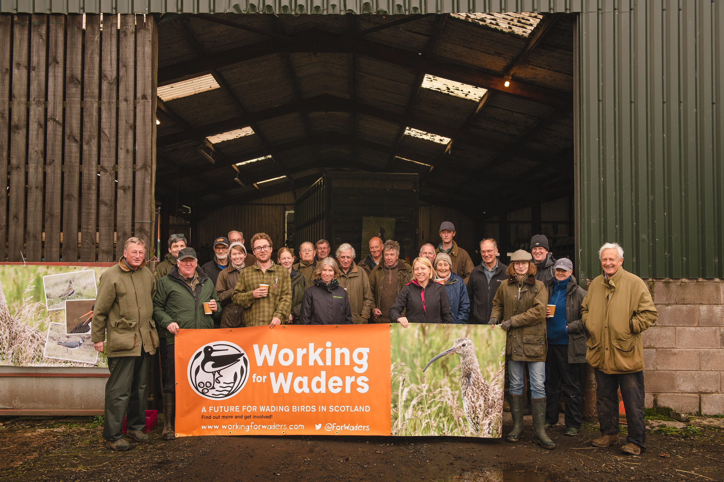 Farmers gathered to discuss wader conservation at Falnash Farm, near Hawick