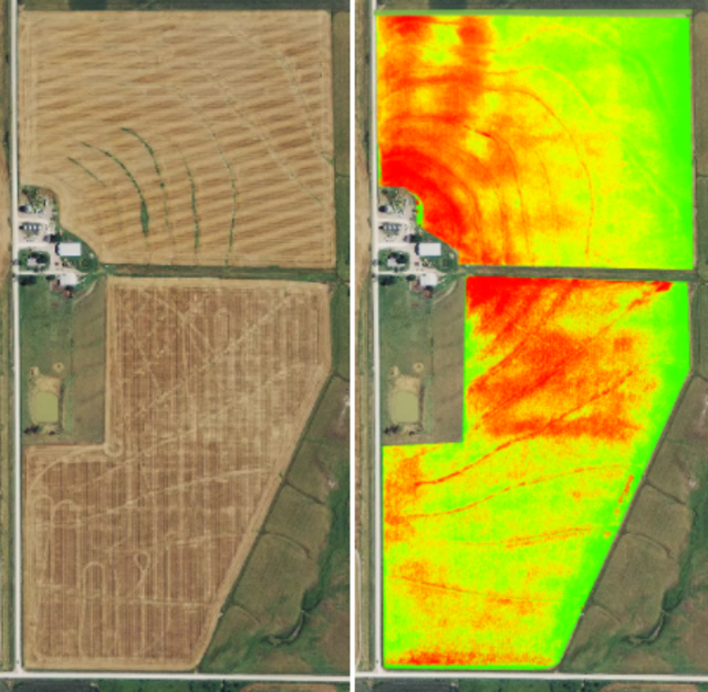 (left image) Shows a field captured with a normal RGB camera. (right image) Shows the same field with the NDVI algorithm applied to it, captured with an NIR camera.