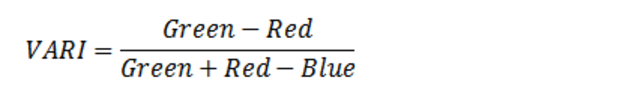 The VARI mathematical formula compares the values of green, red, and blue light to estimate crop health.