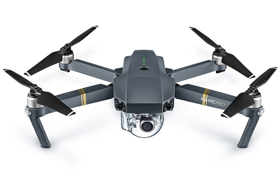 DJI™ Mavic Pro - Max. Flight time (minutes): 27 minutesMax. Speed (mph): 40 mphMax. Wind Resistance (mph): 22 mphWeight With Battery and Prop (lbs): 1.6 lbsBattery Type and Capacity (mAh):LiPo, 3830Swappable Camera: No