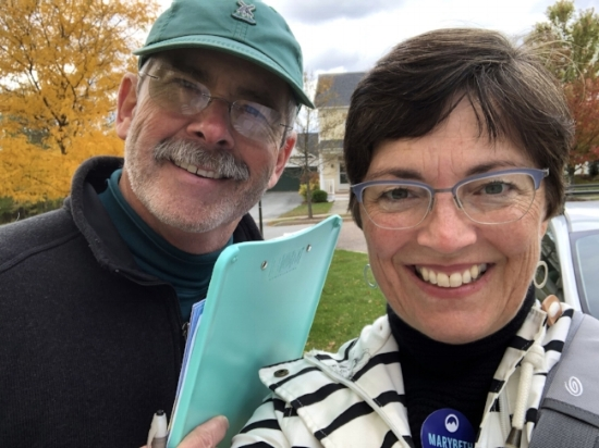 Mark and Marybeth Redmond canvassing in the neighborhood of Lang Farm, Essex.
