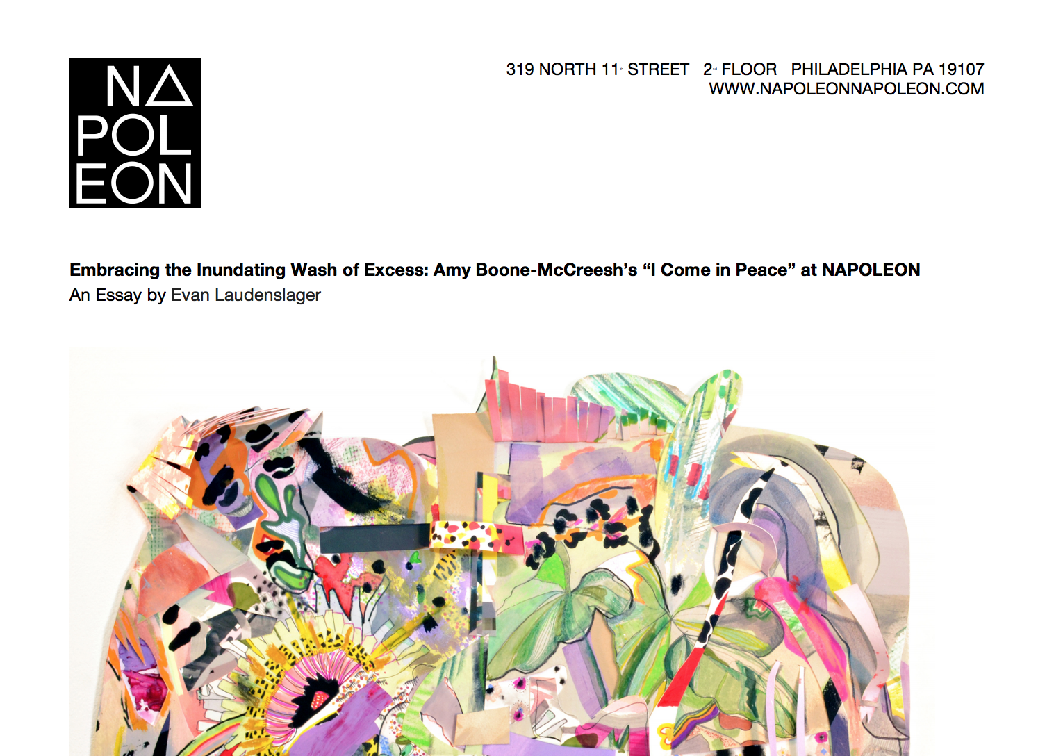 Essay for solo-exhibition at Napoleon Gallery, Phildelphia -