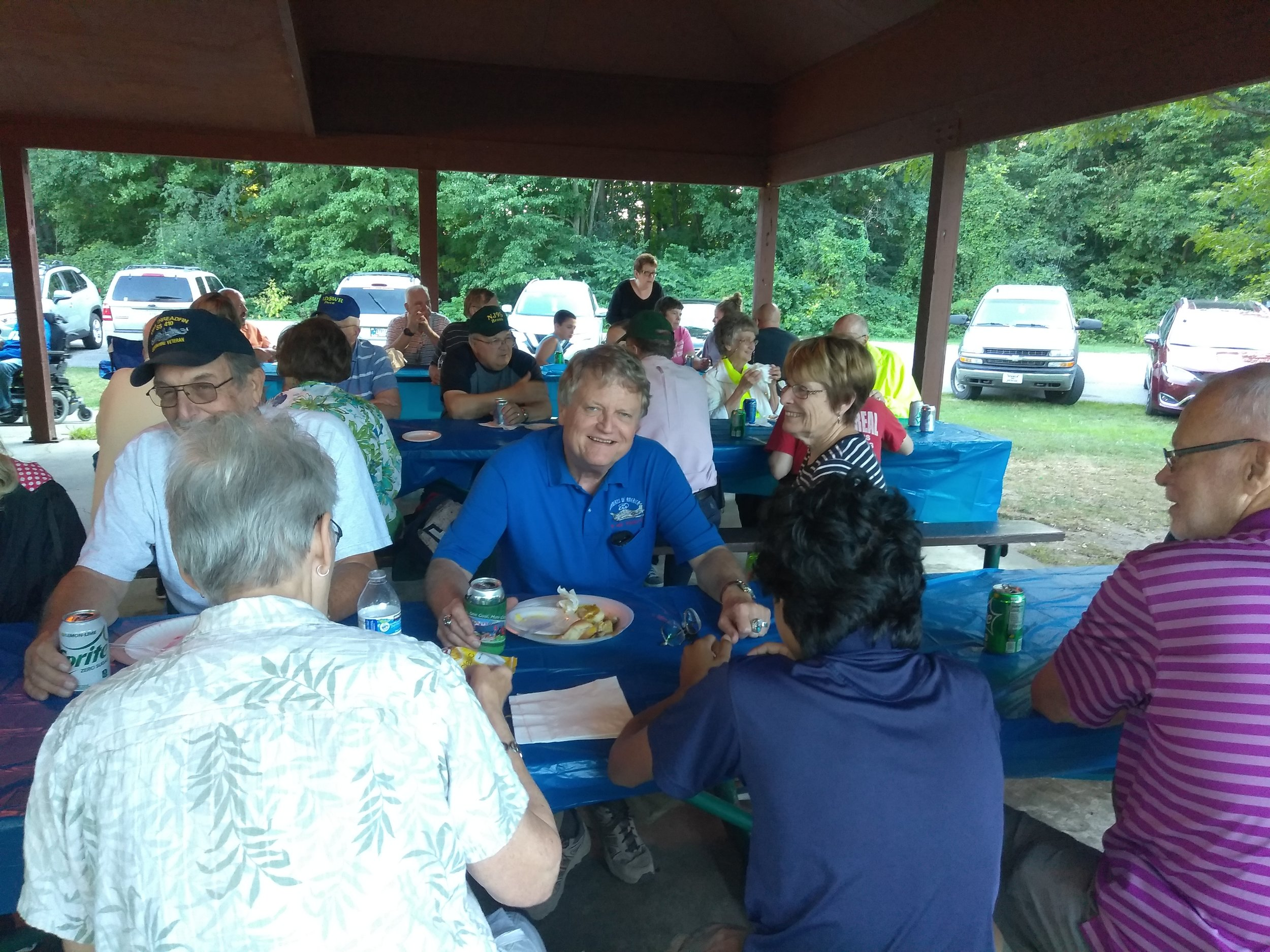 President Keith Wishmeier WA9S taking a break from operating QRP and enjoying the company of several club members.