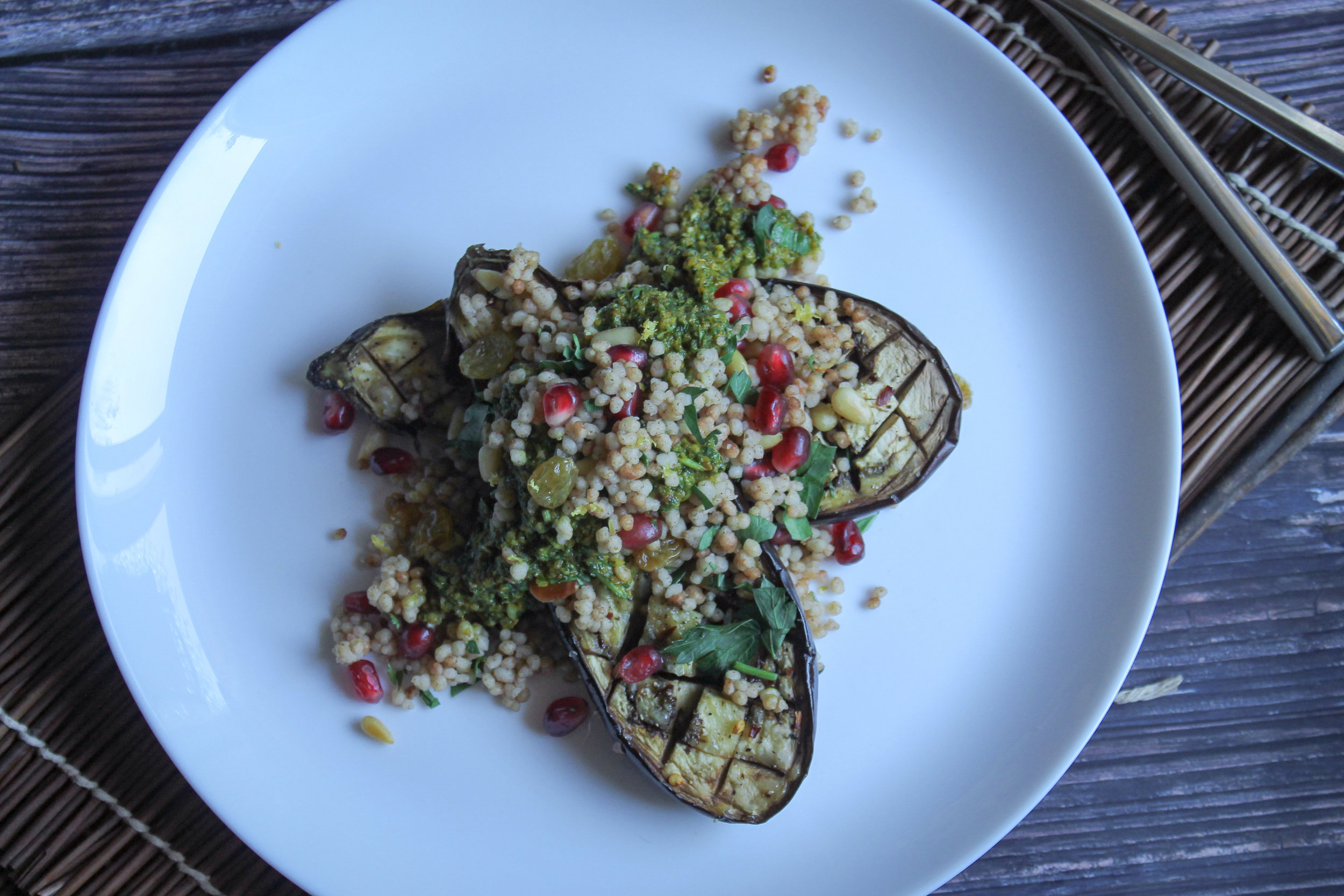Stuffed Roasted Eggplant with Moroccan Couscous