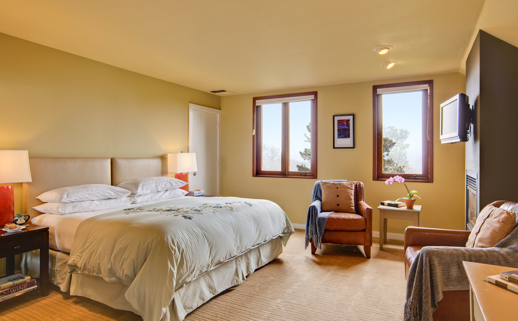 The lookout room is sunny with a king bed, leather armchairs, flat screen TV and fireplace.