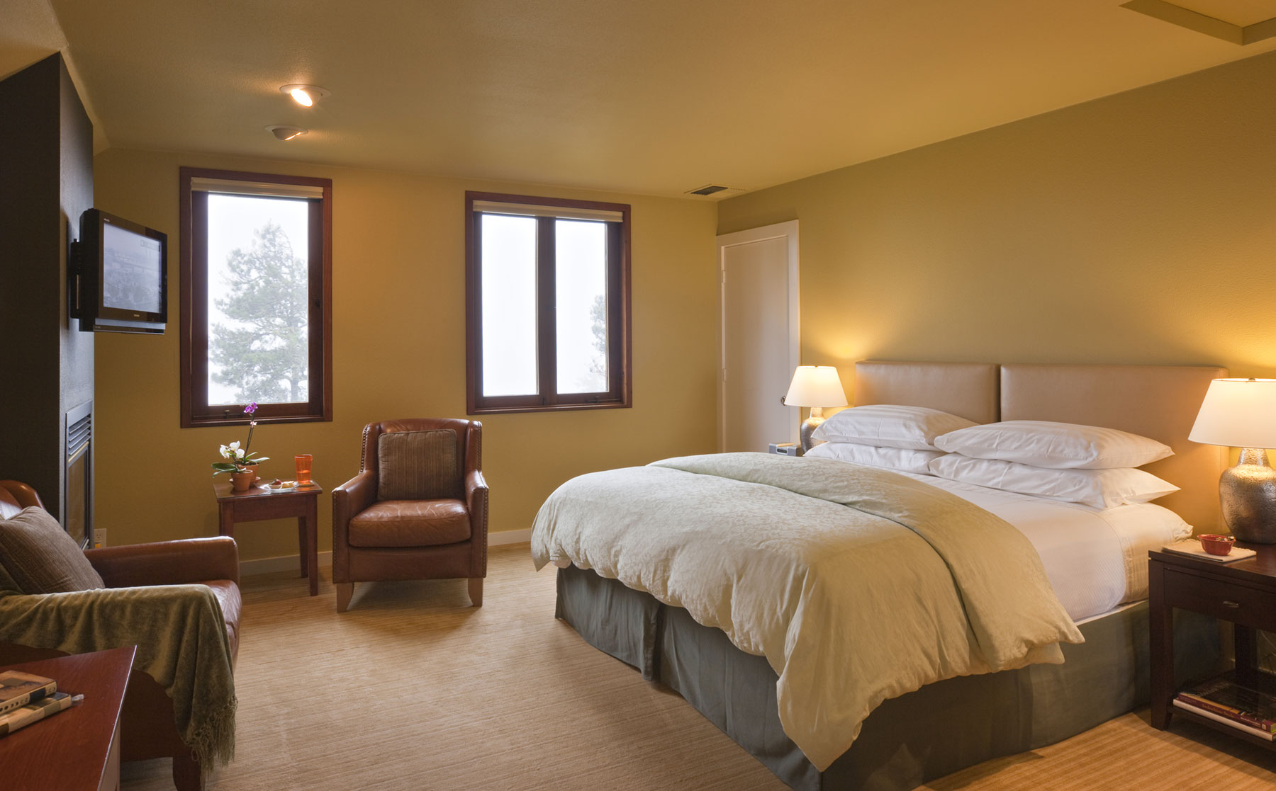 The Smuggler's Cove room has a king featherbed, leather armchairs, flat screen TV, and fireplace.