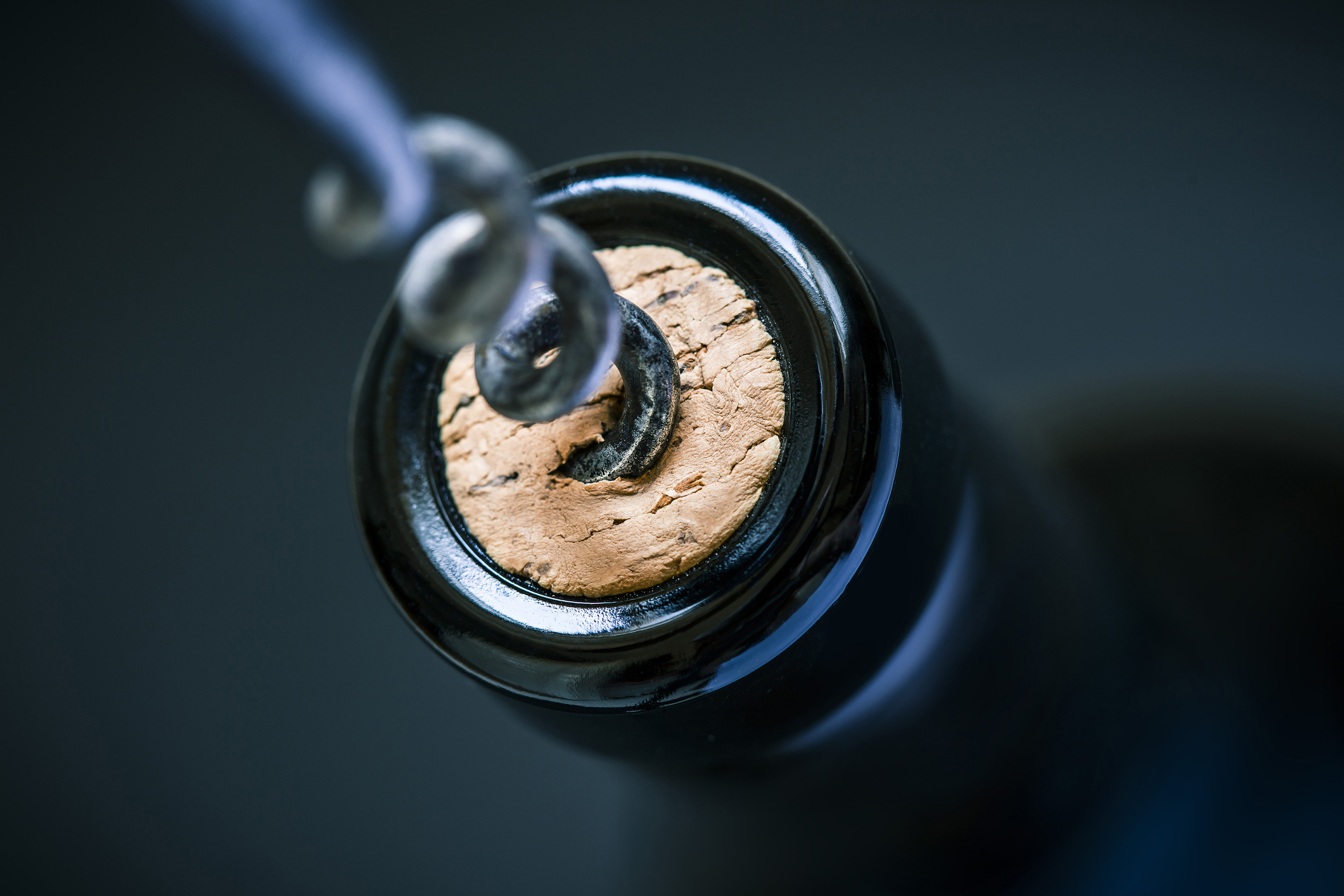 close up of a corkscrew in the cork of a wine bottle