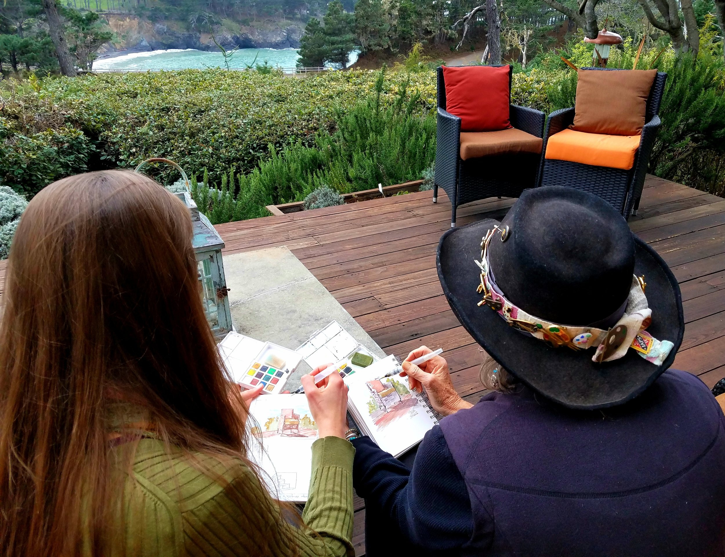 Painting with Suzi on the Main Deck