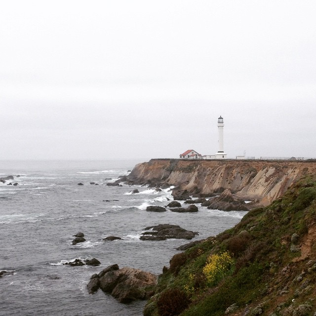 Point Arena Lighthouse on a cloudy day