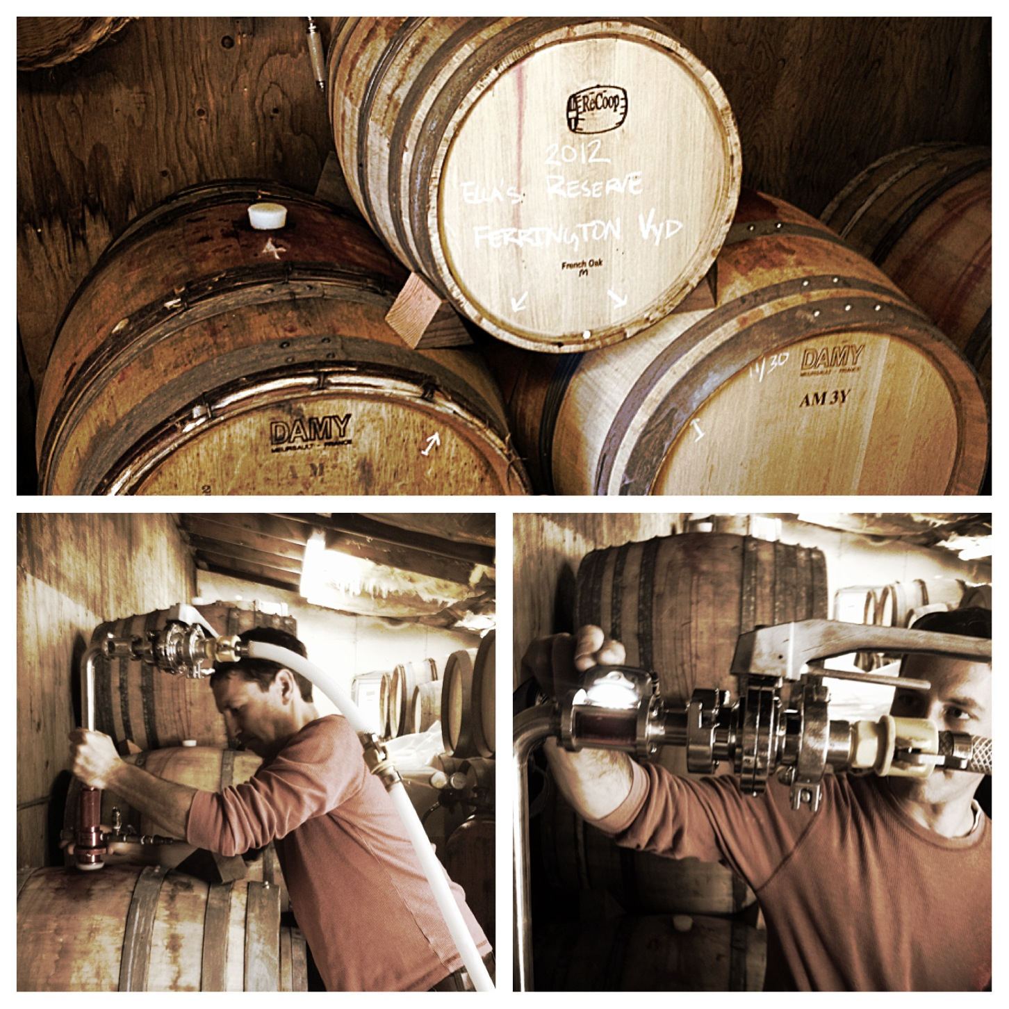 Barreling the wine.
