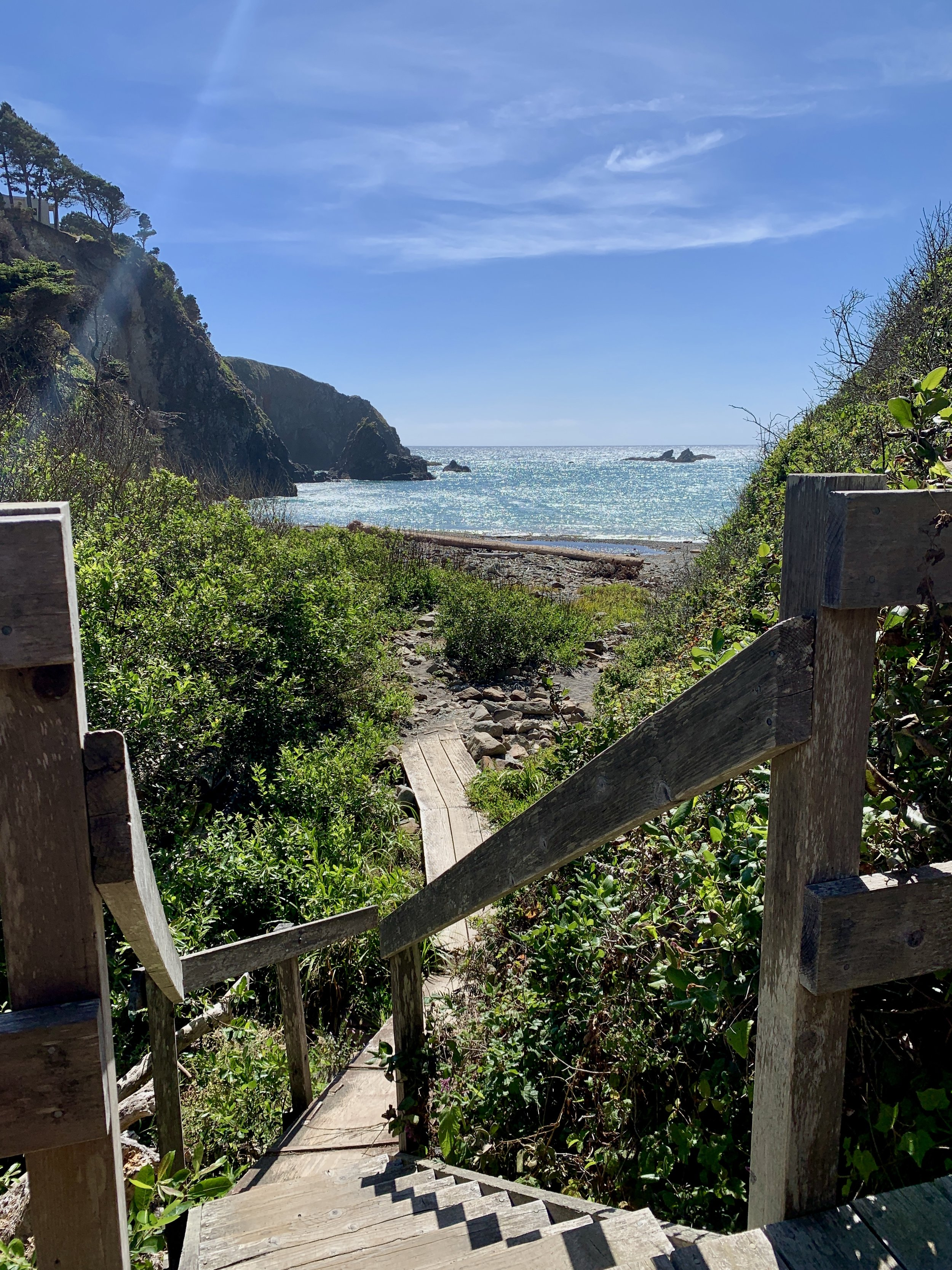 The stairs down to Dark Gulch beach.