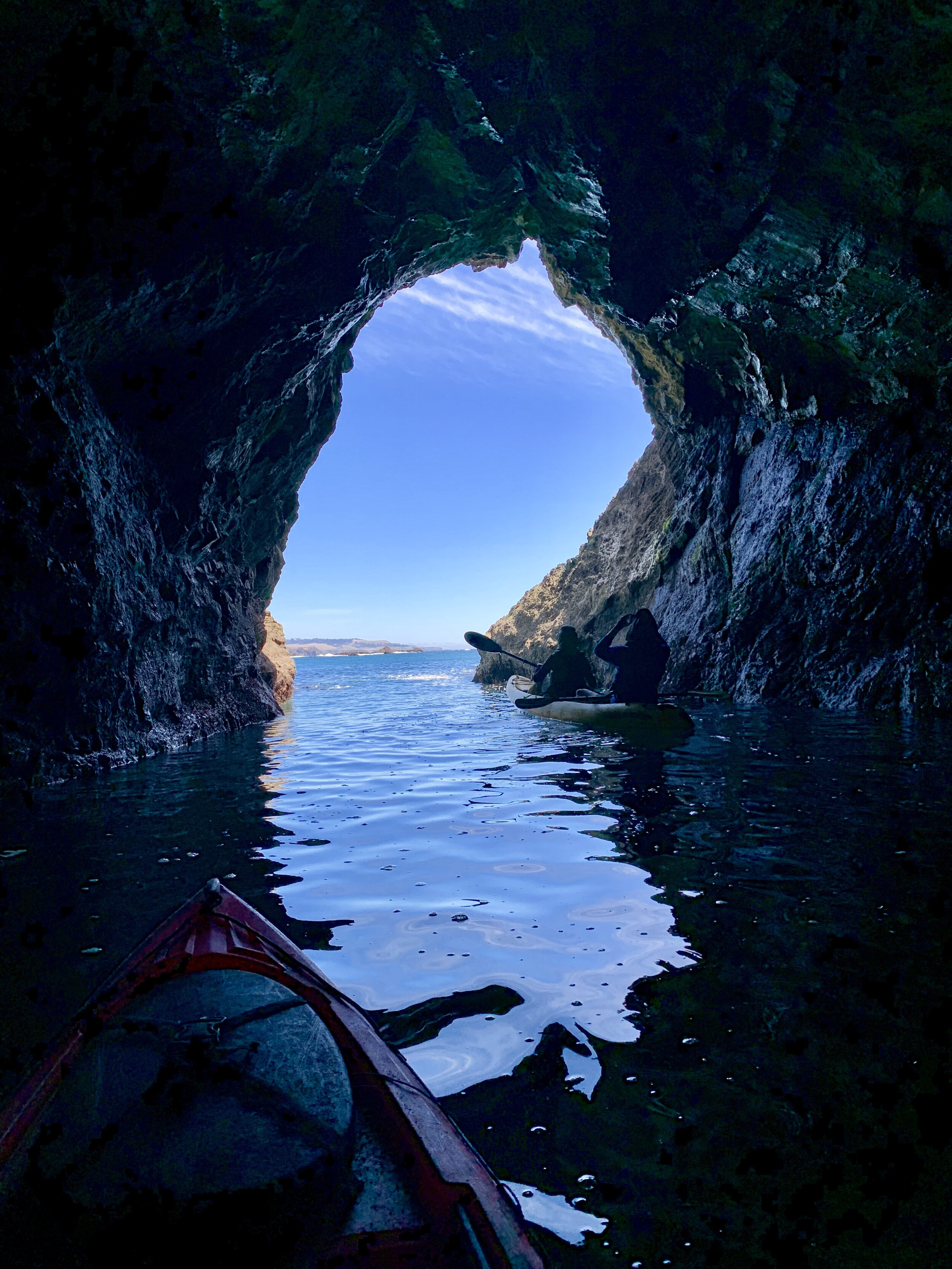 leaving a sea cave on the sea cave kayak tour