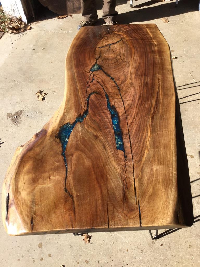 Finished Walnut with Blue epoxy inlays