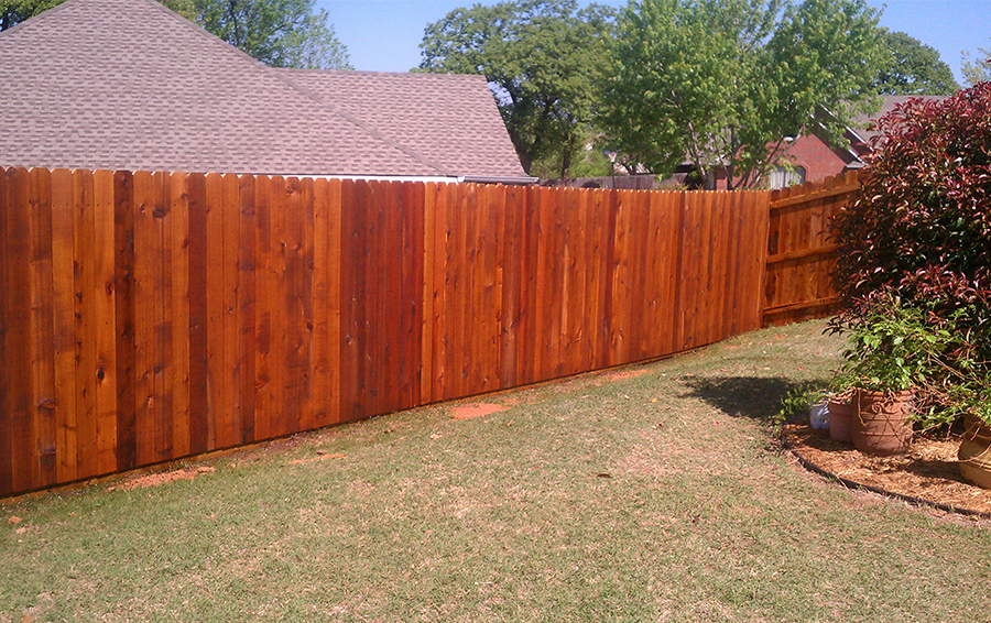 stained wood fence in backyard with landscaping