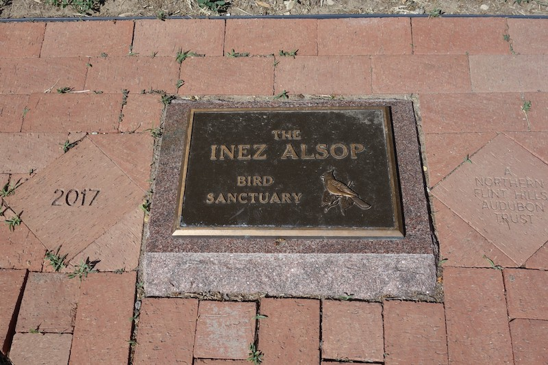 A plaque honors Inez Alsop, who left her property to the Northern Flint Hills Audubon Society (NFHAS).