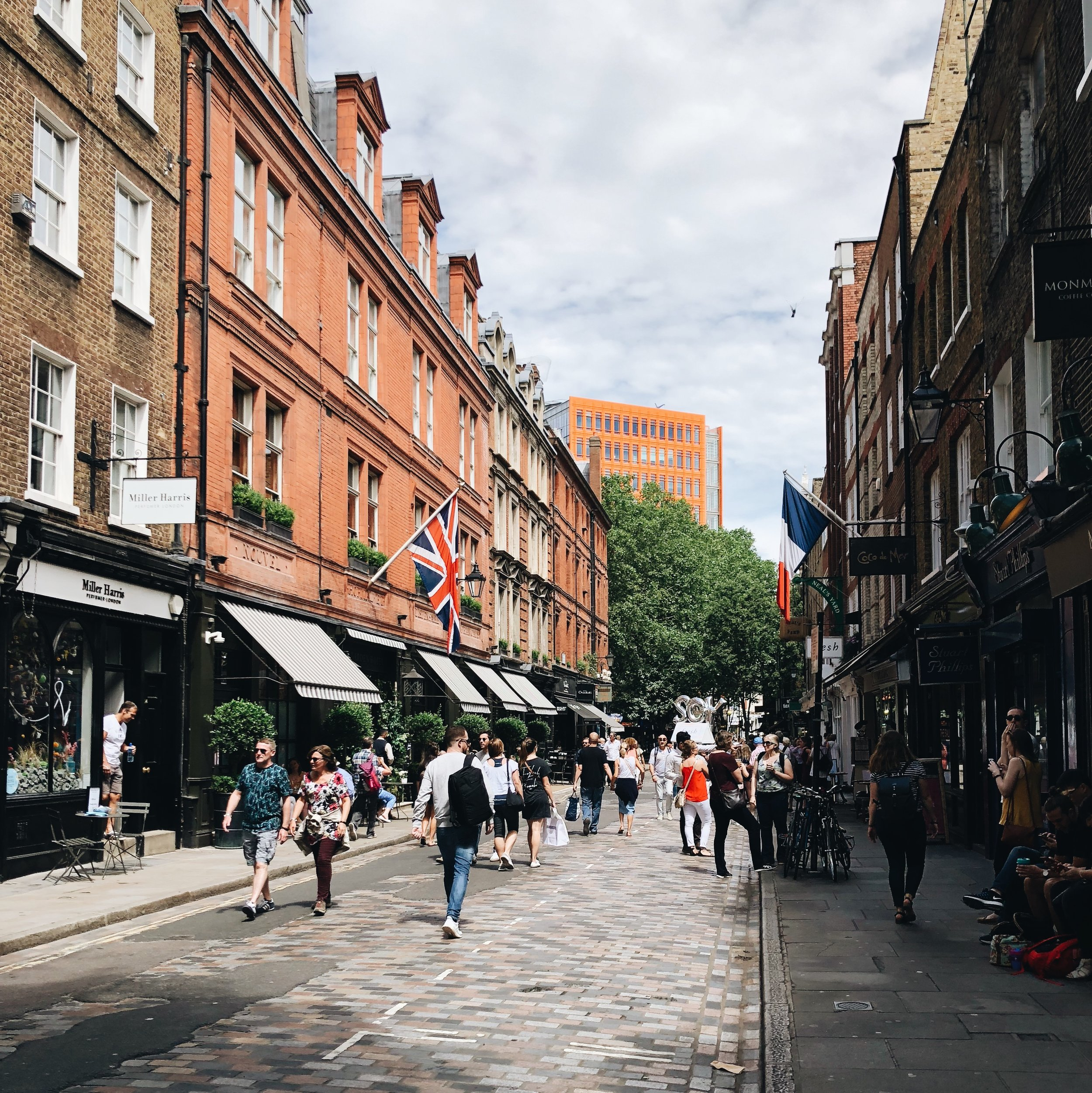 Beautiful Monmouth Street in the Seven Dials in central London.