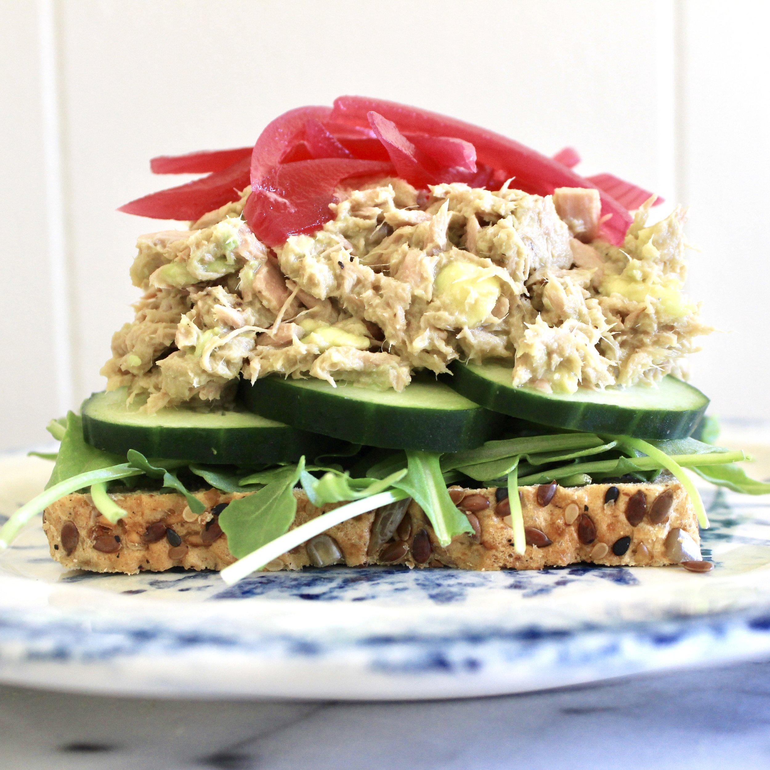 Open-faced Avo Tuna Fish Sandwich
