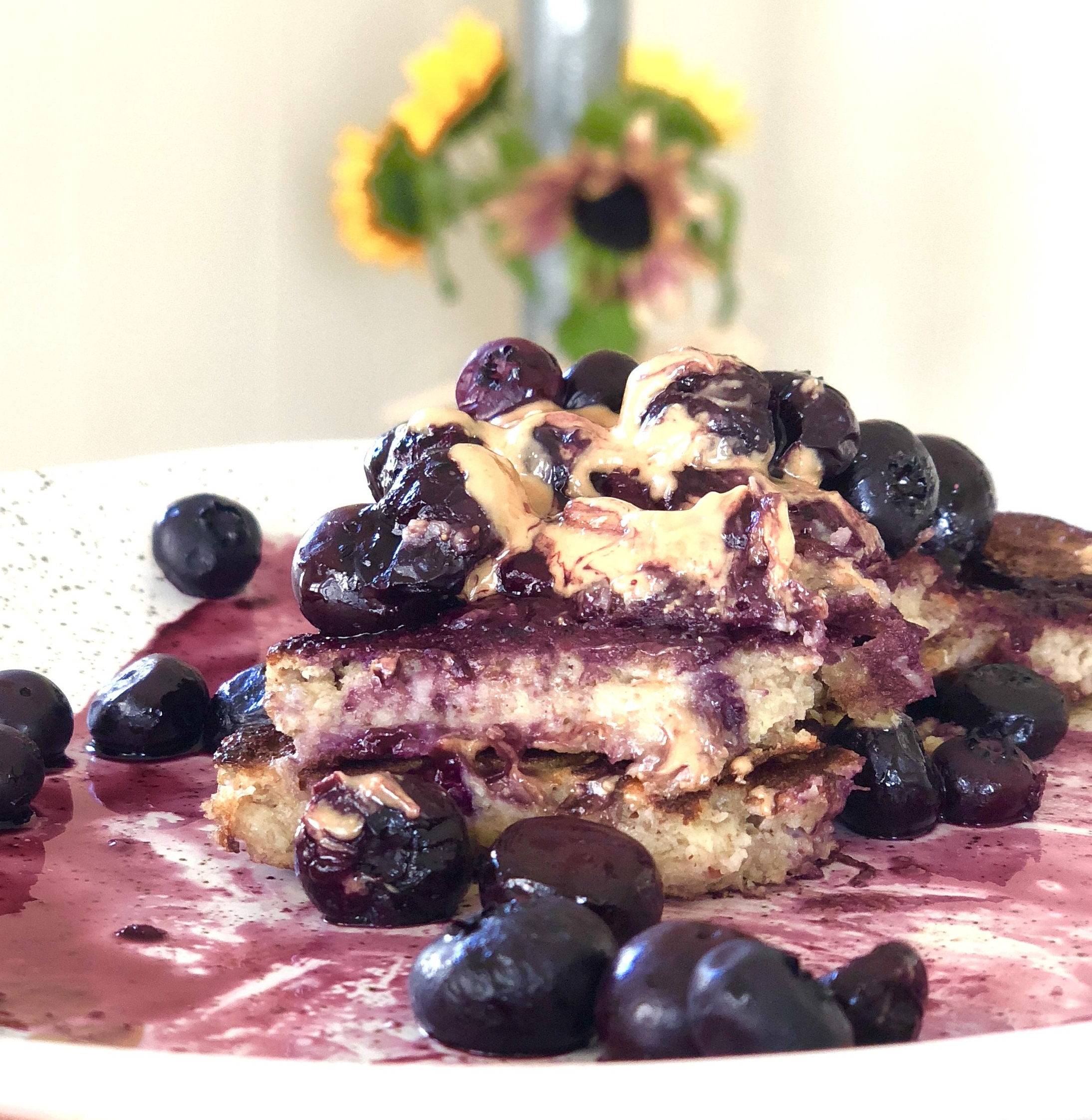 Banana Oat Pancakes with Blueberry Sauce