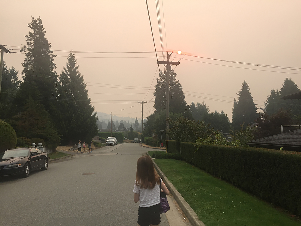 The particulate matter from the wildfires created a red sun, 2017