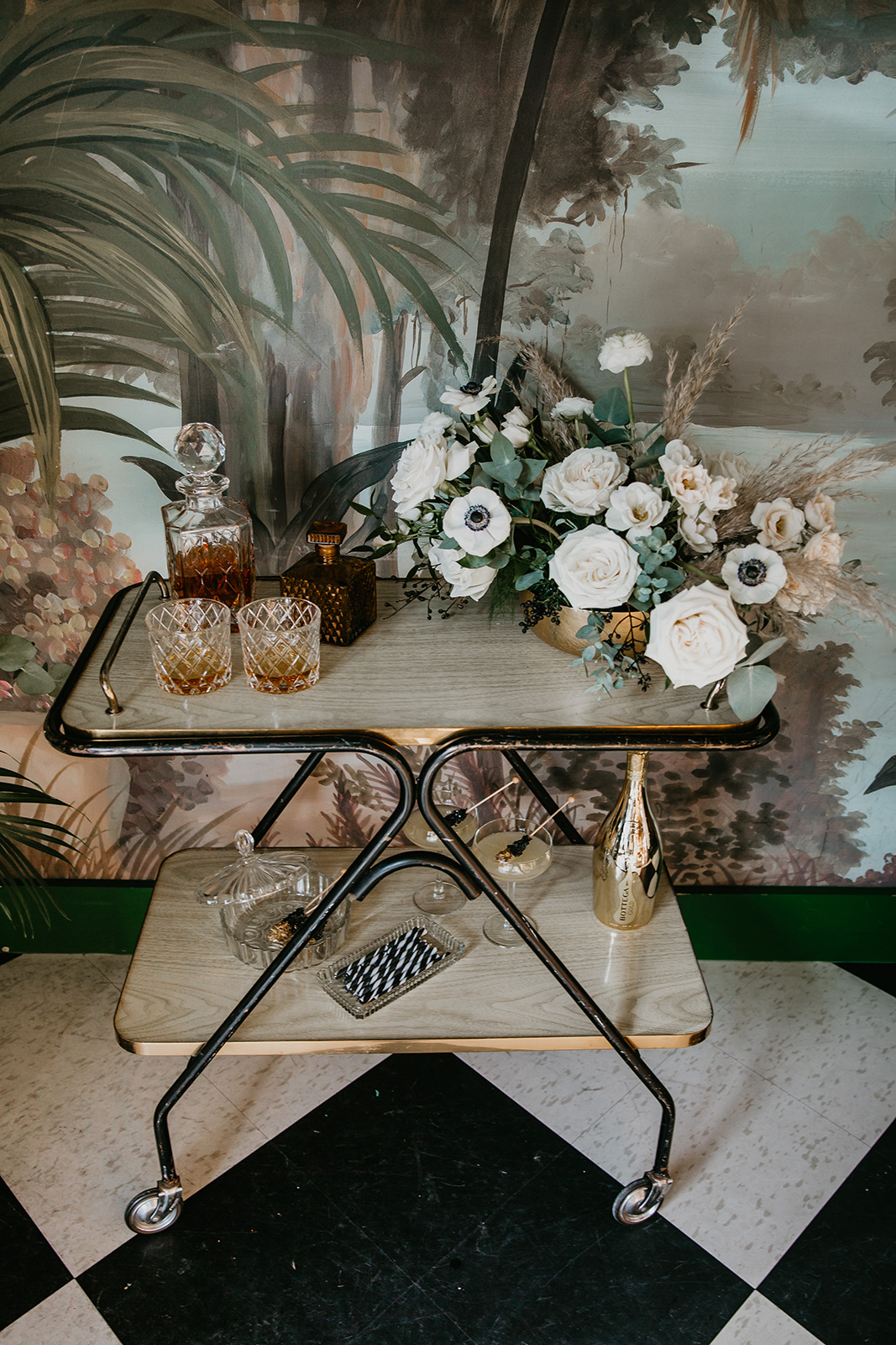 calgary bar cart drinks and sweets and florals