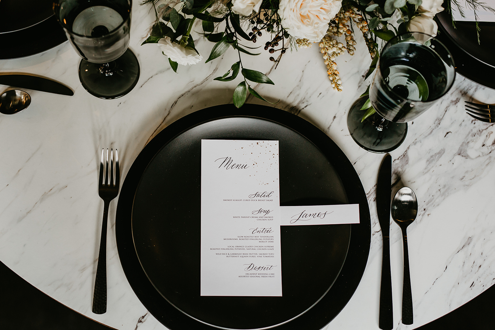 calgary wedding table setting menu guest table