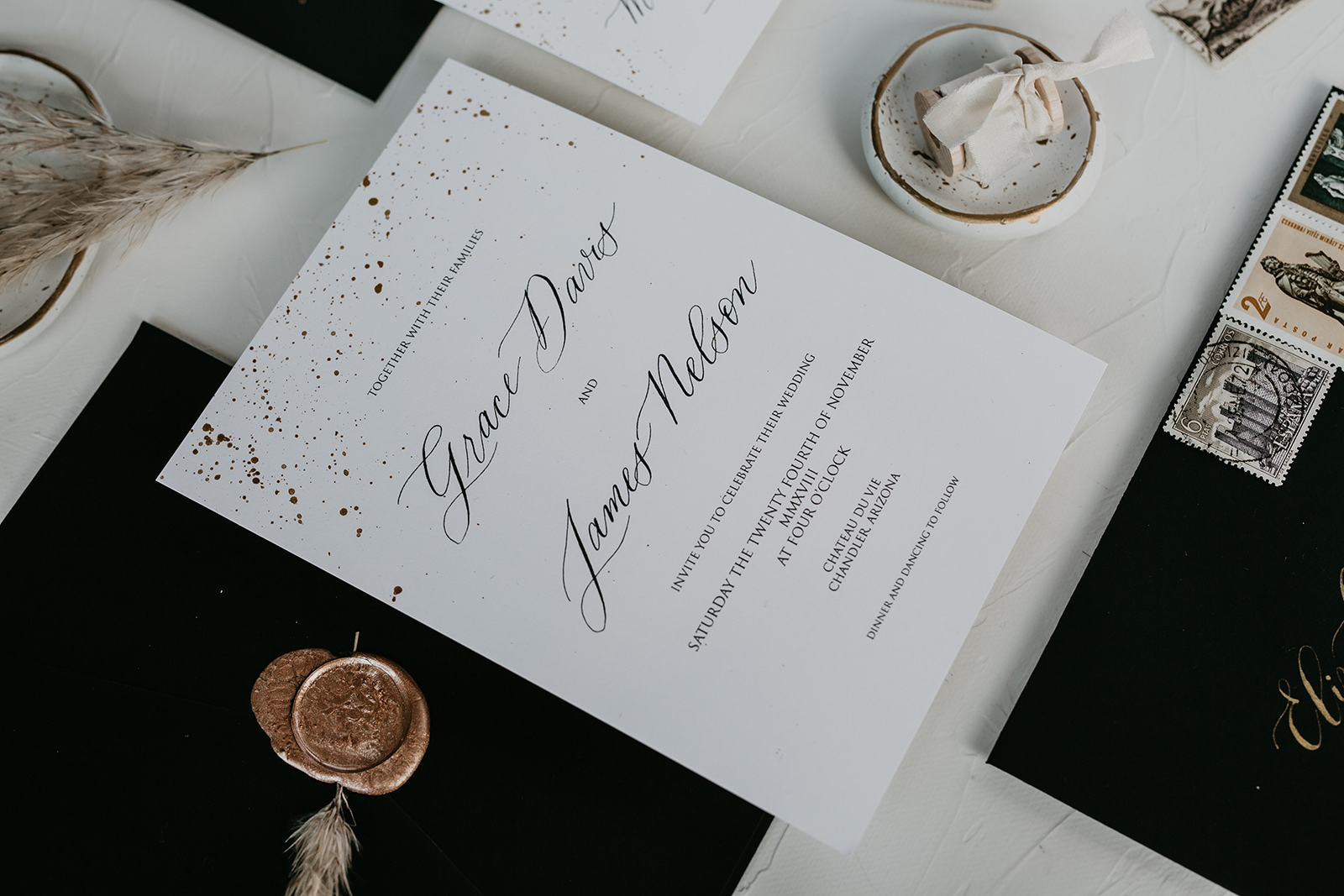 calgary wedding invitation suite debbie wong flat lay
