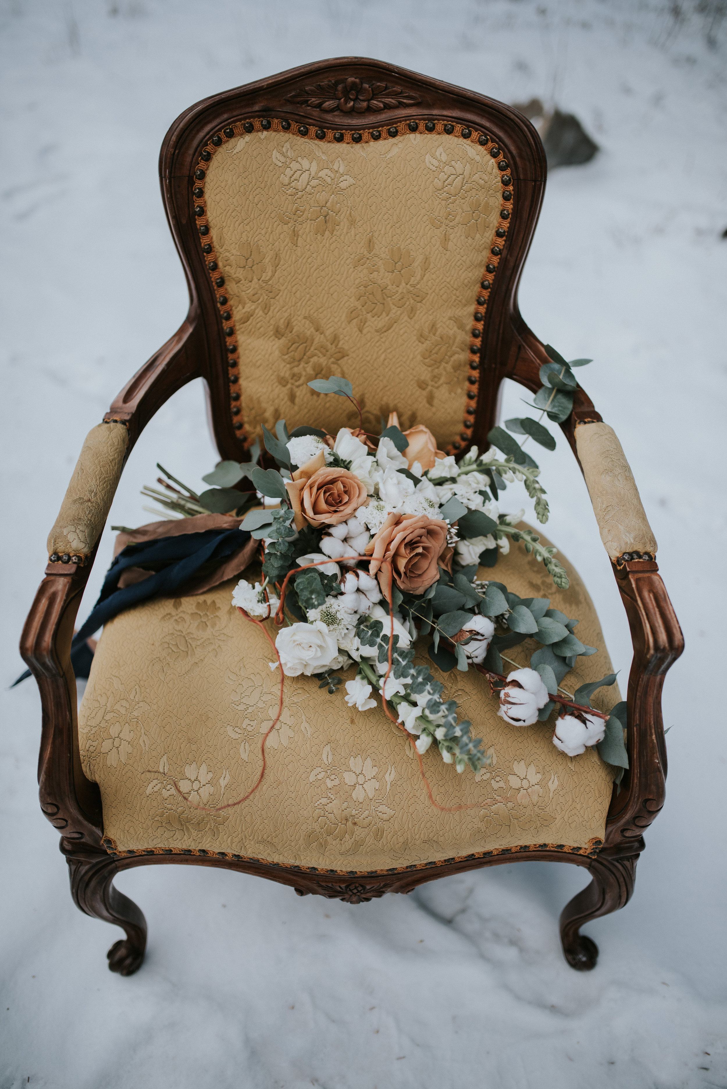 calgary wedding bouquet parlor chairs winter wedding inspiration