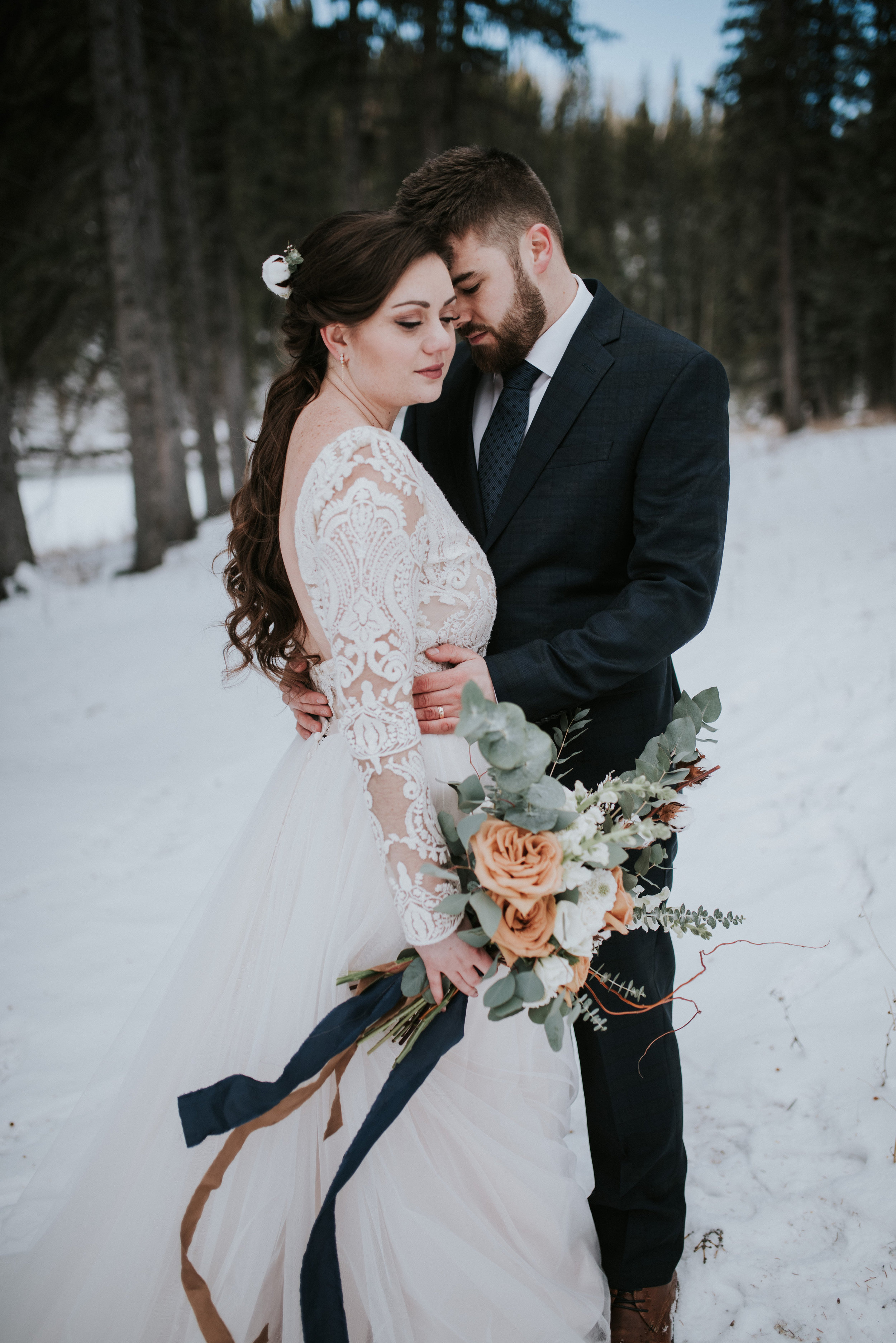 calgary bride and groom portrait winter wedding