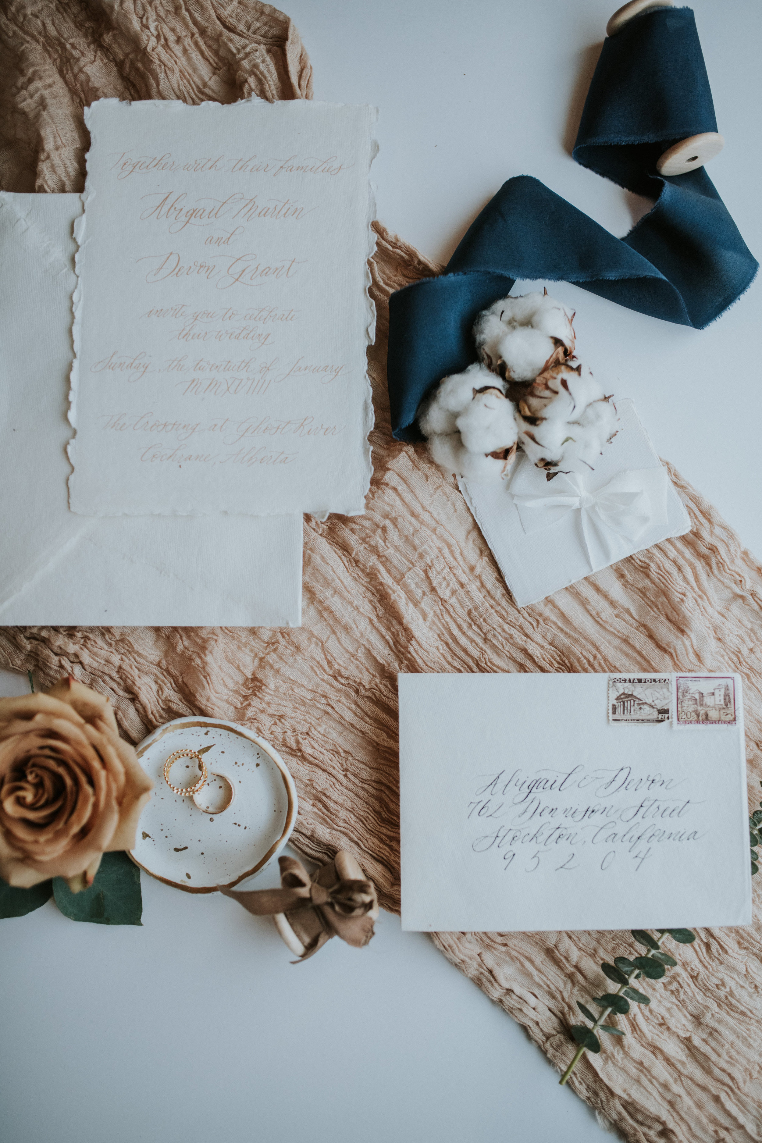 calgary wedding flat lay invitations