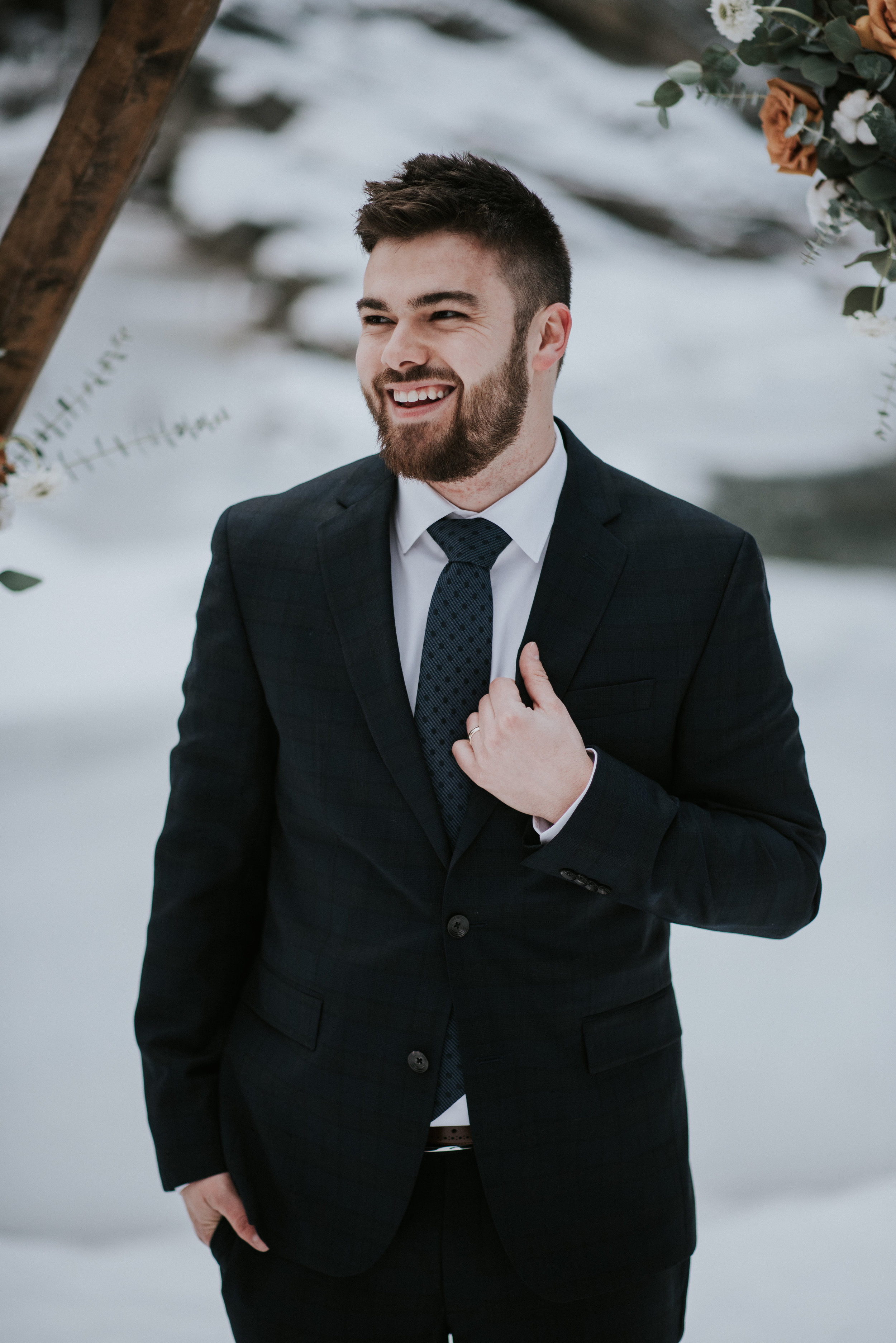 calgary groom winter wedding tux