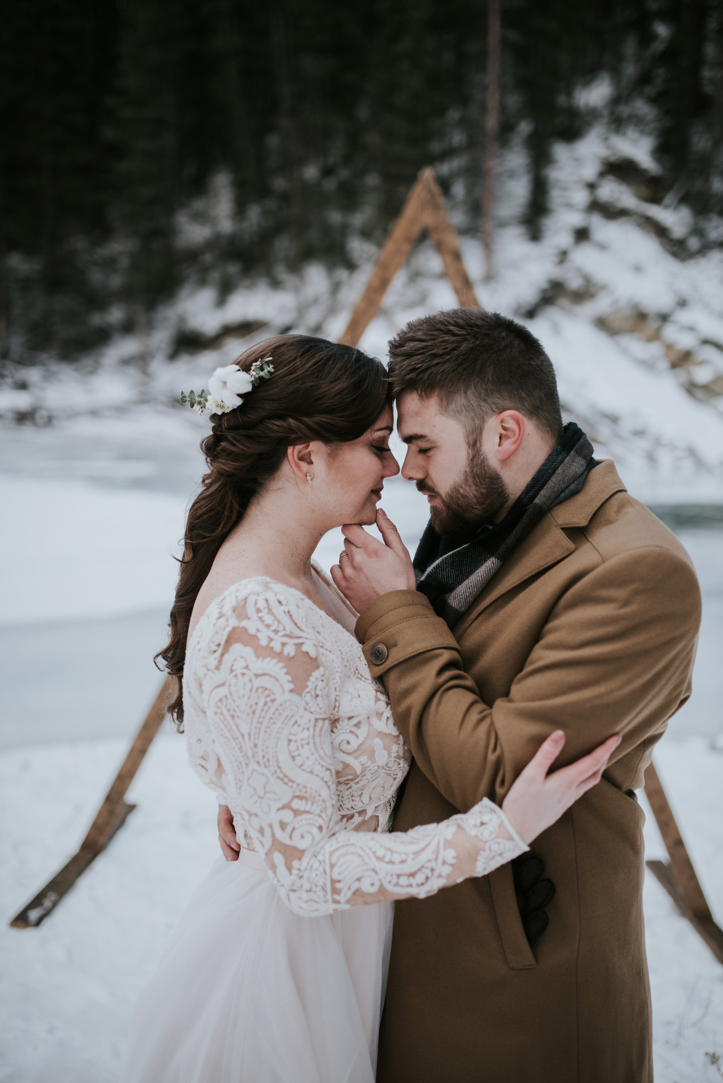 calgary bride and groom portrait winter wedding inspiration