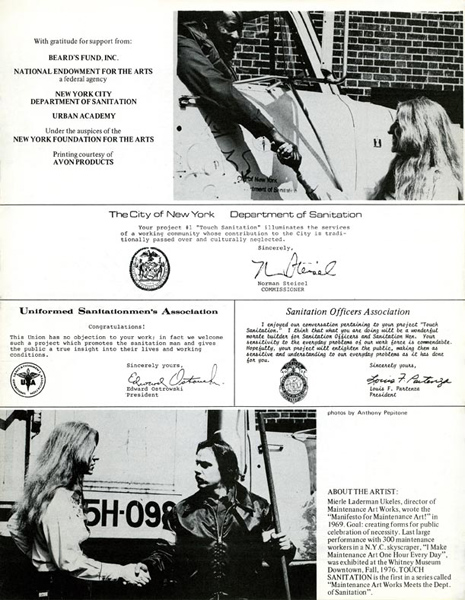 Mierle Laderman Ukeles Artist's Letter of Invitation Sent to Every Sanitation Worker with Performance Itinerary for 10 Sweeps in All 59 Districts in New York City 1979 printed brochure 11 x 8 1/2 inches Courtesy Ronald Feldman Fine Arts, New York