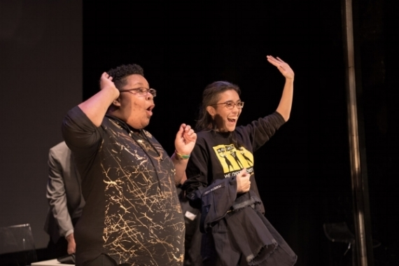 Charlie and Sulu greet the audience at The Lion Theatre at the Ali Forney Center Theatre Troupe's show Get Out: Homeless Edition. Photo by Alex Woodhouse.