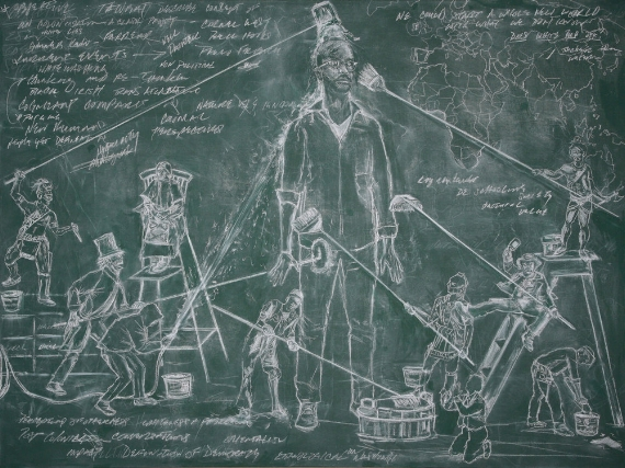JC Lenochan [image description: a man is at the centre of a drawing in white chalk on a blackboard, he is being washed with very long brushes by people who are two thirds smaller than him, there is also indecipherable text around him and a map of africa]
