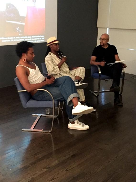 Left to right: Ni'Ja Whitson, Kiyan Williams, and Tavia Nyong'o contribute to a panel about Marlon Riggs