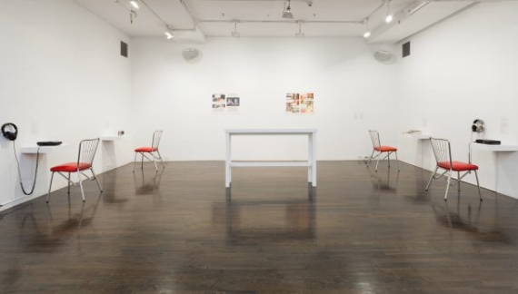 """Installation view of """"VOICE = SURVIVAL"""" at The 8th Floor (Courtesy of the artists and The 8th Floor, New York)"""