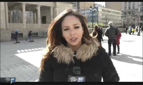 Krizia Ruiz reporting live at Tania Bruguera's performance