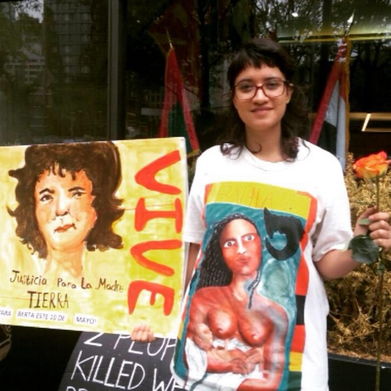 Rebelené, Berta Caceres Mother's Day Card, 5/10/16 #Justice4Berta action outside of UN.