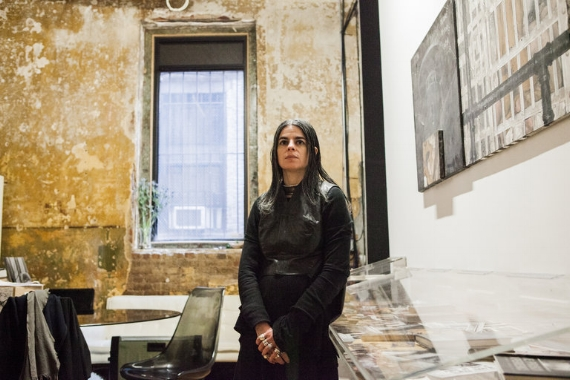 """Lia Gangitano, the founder of Participant Inc, in her art space on the Lower East Side. """"It's very much a labor of love — and a vow of poverty,"""" she said."""