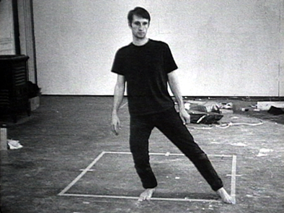 Bruce Nauman, Still from Dance or Exercise on the Perimeter of a Square (Square Dance), 1967-68. Black and white with sound. Courtesy of Electronic Arts Intermix (EAI), New York.
