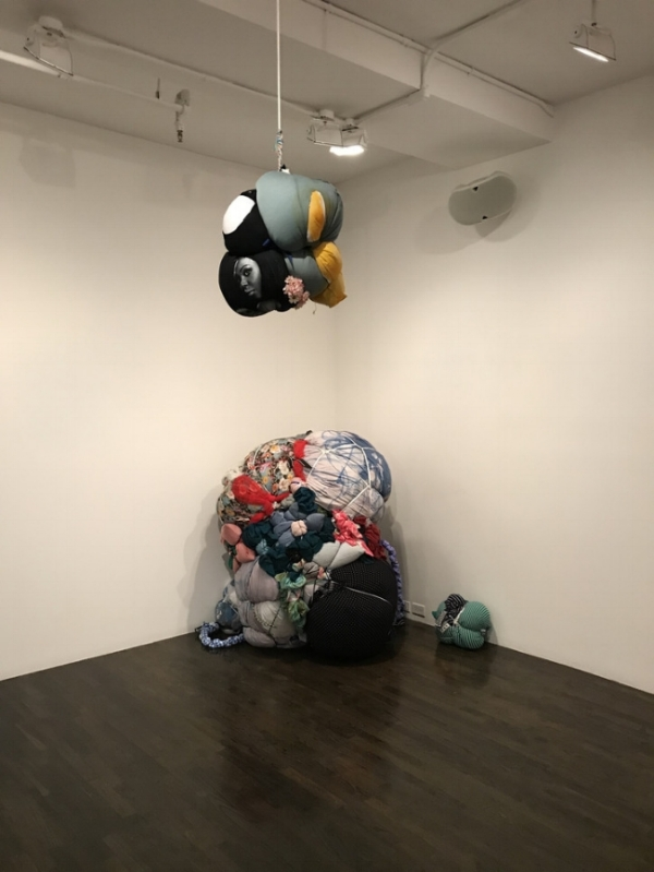 Above: Installation view of Shinique Smith's Bundles.
