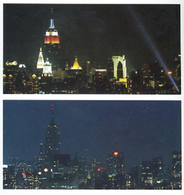A Night Without Light (1990). Courtesy of Visual AIDS. [image description: two photographs from an identical place, the first one has the skyscrapers lit, and in the second they have no external light]